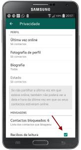 WhatsApp desactivar recibos leitura
