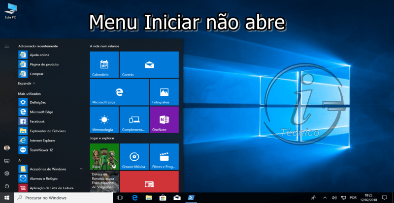 Menu Iniciar do Windows 10 não abre