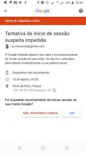 Início de sessão suspeita - Google 003