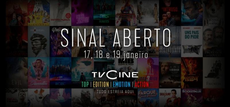 TVCine deixa canais em sinal aberto dias 17, 18 e 19 de Janeiro de 2020