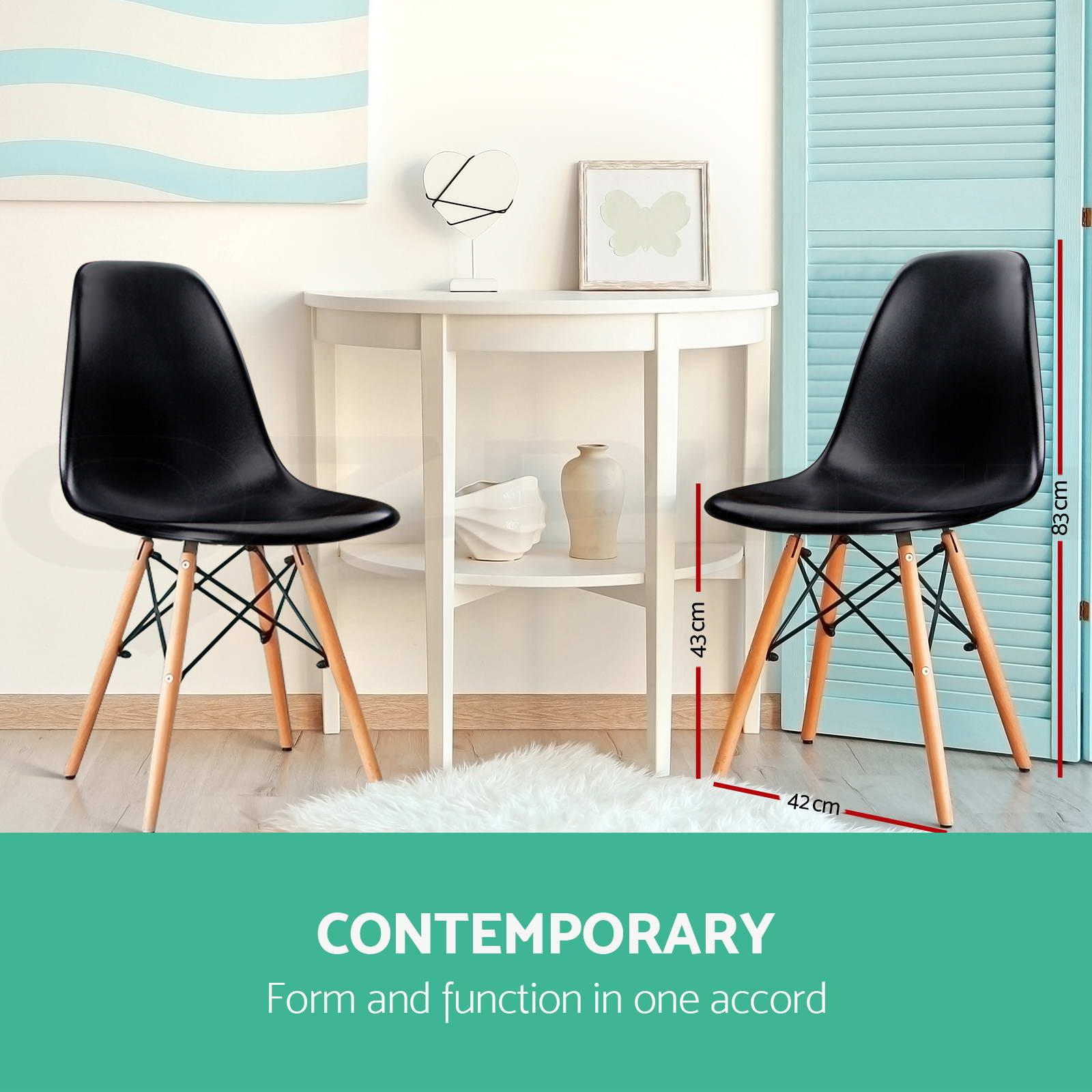 retro cafe dining chairs wheelchair headrest 6 x replica eames eiffel kitchen