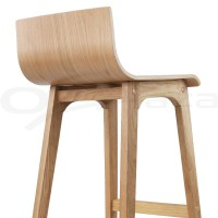 4x Oak Wood Bar Stools Wooden Barstool Dining Chairs ...