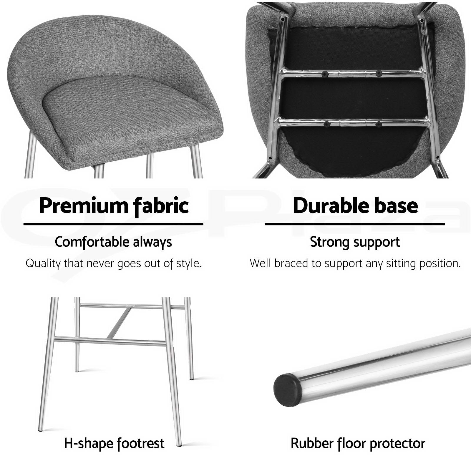 bar stool chair legs retro outdoor chairs 2x fabric barstool kitchen dining chrome