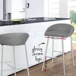 Bar Stool Chair Legs Interior Swing 2x Fabric Barstool Kitchen Dining Chrome