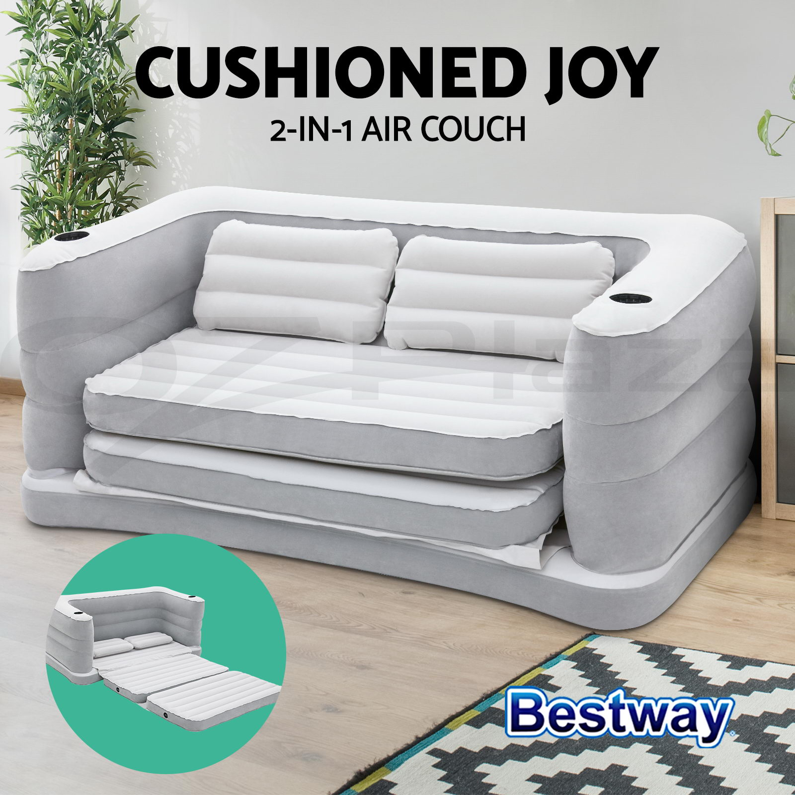bestway inflatable air sofa couch bed cindy crawford home sidney road taupe mattress sleeping mats
