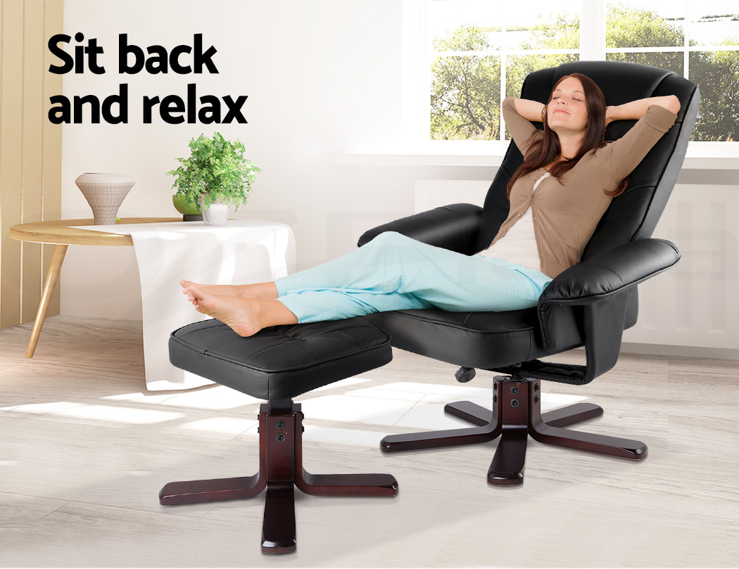 office lounge chair and ottoman covers to buy pu leather wood arm recliner