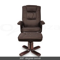 PU Leather Arm Chair Wooden Lounge Chair Office Ottoman ...