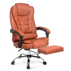 Reclining Office Chair With Footrest India European Touch Pedicure Chairs Parts Executive Computer Recliner Work Seat Pu