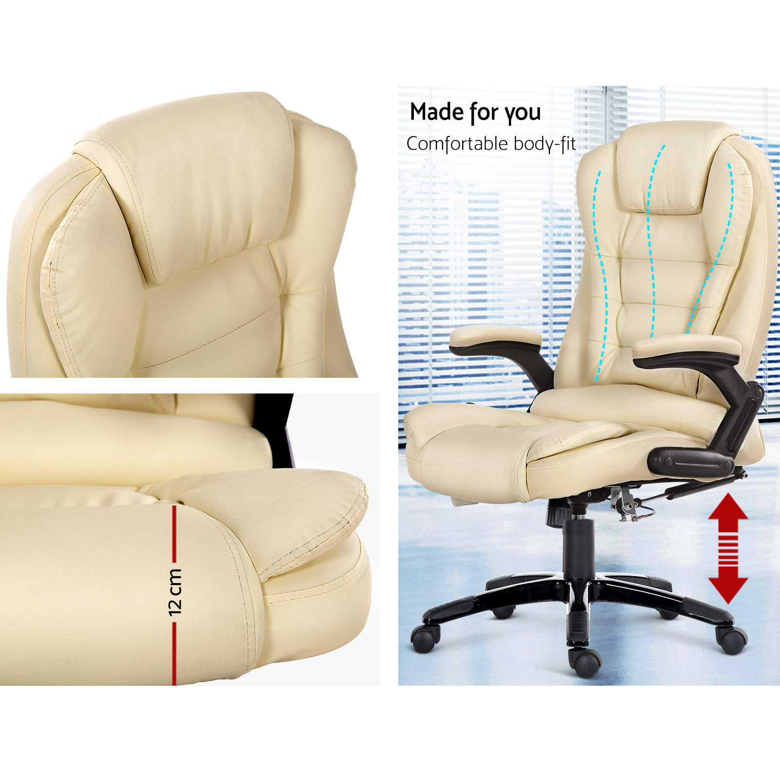 reclining office chairs australia chair lift stairs ireland 8 point massage executive computer heated recliner pu