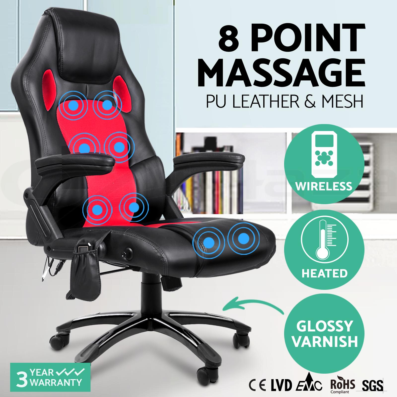 racing office chairs hunting blind 8 point massage chair executive heat