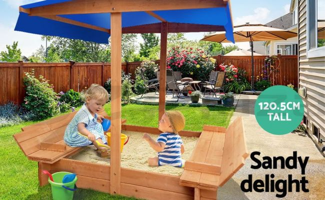 Keezi Kids Sandpit Outdoor Toys Wooden Sand Pit Play Box