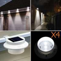 4X 3 LED Solar Powered Gutter Fence Lights Outdoor Garden ...