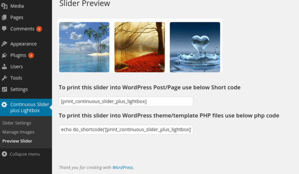 continuous image carousel with lightbox Pro preview