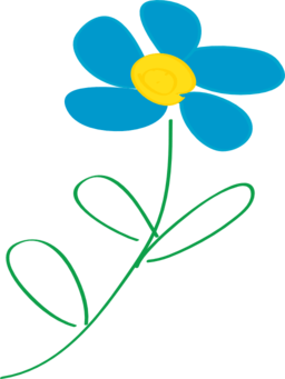 whimsical blue flower clipart