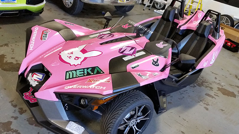 A Slingshot wrapped in the style of D-Va from Overwatch.