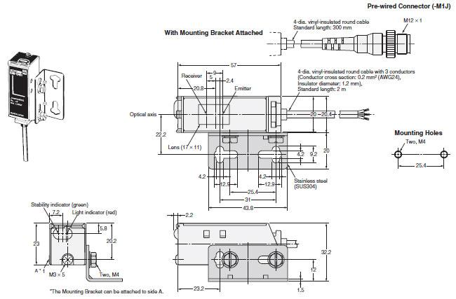 E3S-C Oil-resistive, Long-range Photoelectric Sensor with