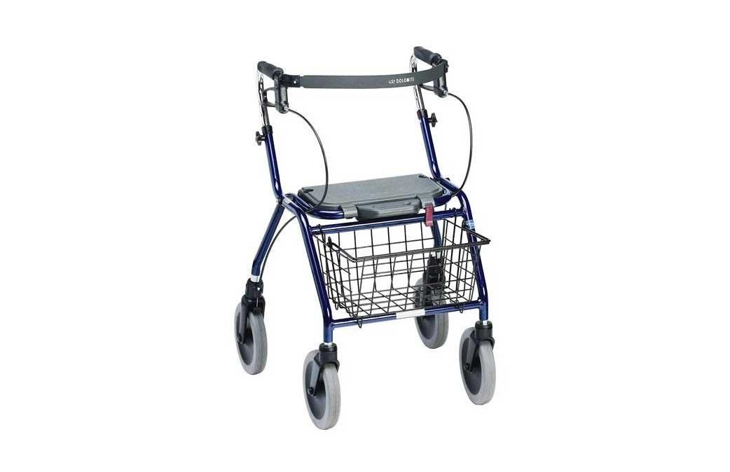 Andarilho com rodas, assento e cesto, com vista de perfil