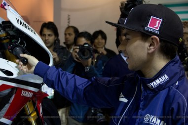 Lorenzo checking out the M1 - Auto Expo 2012 Delhi