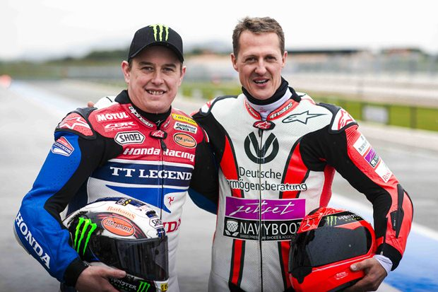 John McGuinness & Michael Schumacher ride together