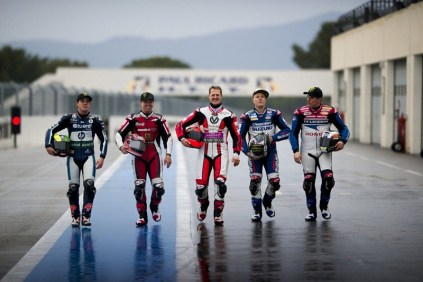 Michael Schumacher, Pol Espargaro, Randy Mamola, John McGuinness and Keith Flint at the Paul Ricard circuit - 01