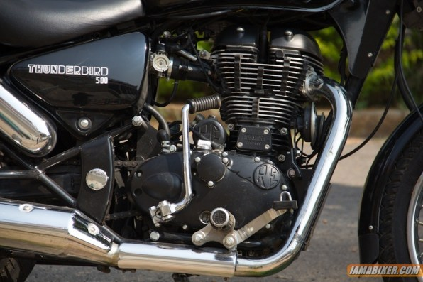 Royal Enfield Thunderbird 500 engine side close up