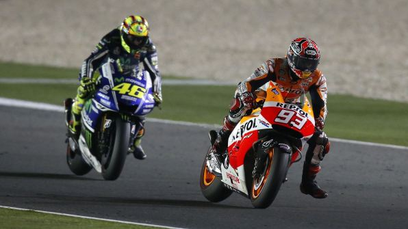Valentino Rossi Marc Marquez battle