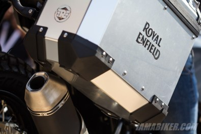 Royal Enfield Himalayan pannier and exhaust end can