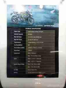 2018 Honda CBR 250R specifications