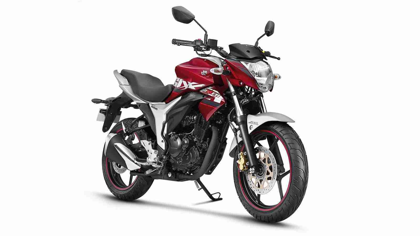 Suzuki Gixxer ABS colour option Candy Sonoma Red Metallic Sonic Silver