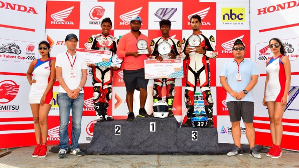 IDEMITSU Honda India Talent Cup podium ceremony
