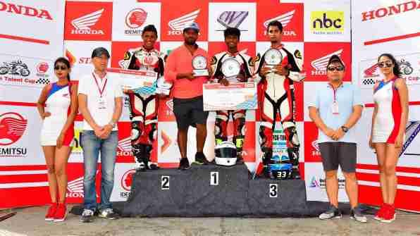 IDEMITSU Honda India Talent Cup podium ceremony