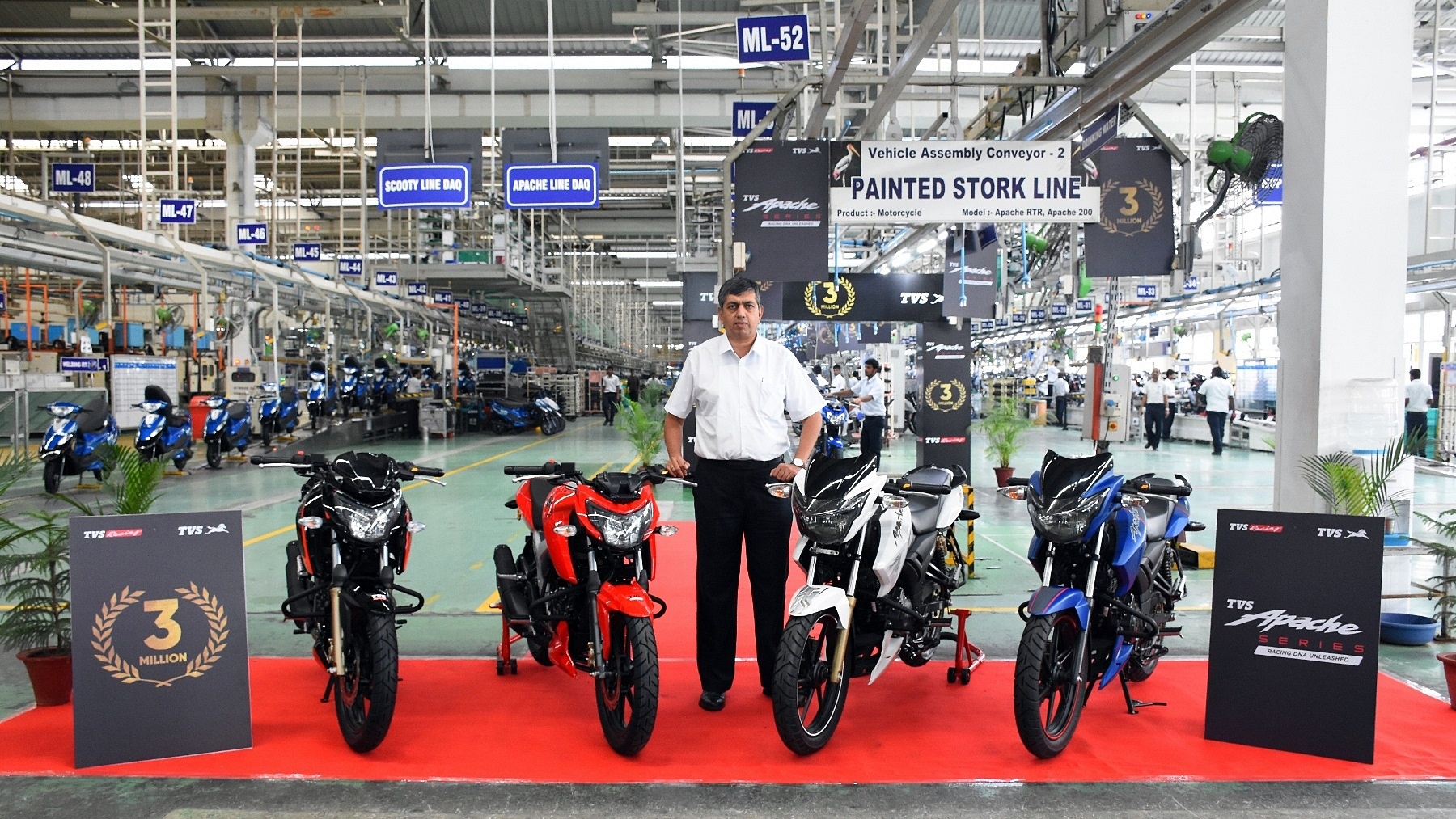 TVS Apache has now sold over 3 million units - factory photo