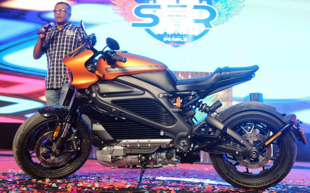 Sajeev Rajashekharan with the just unveiled electric Harley the Livewire
