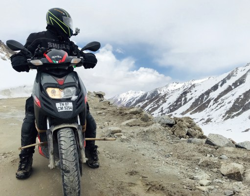 Nagarajan Adithya at Khardung La on his Aprilia SR150