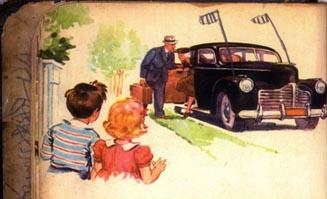 Father accepts a package from someone in a black car with diplomatic plates. Spy Pop, spy!