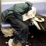 Homeless Man in Subway Car