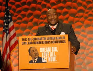 Hayes addresses hundreds of delegates at the MLK Civil and Human Rights Conference in Atlanta.