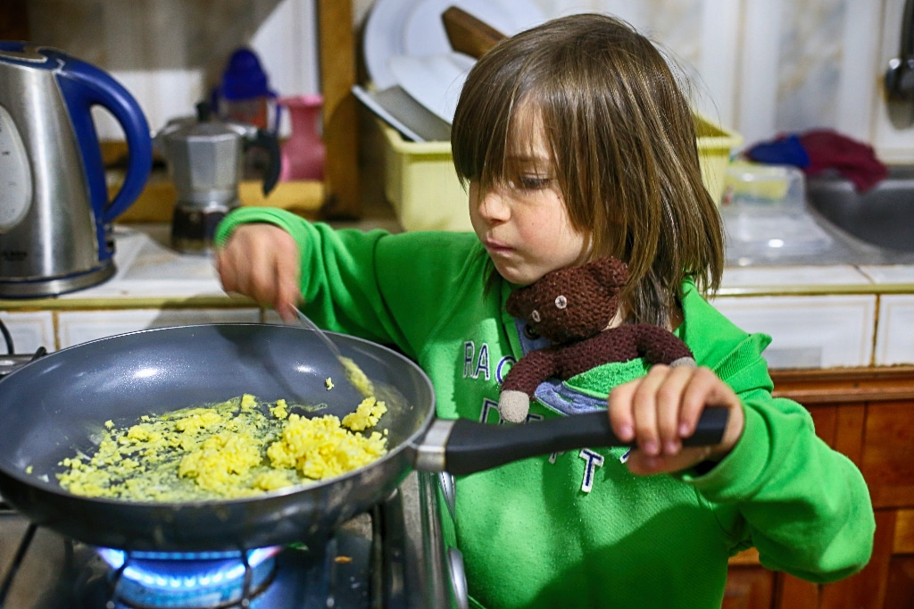 little boy cooking