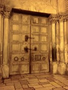 Church of the Holy Sepulchre - immense door with several small openings