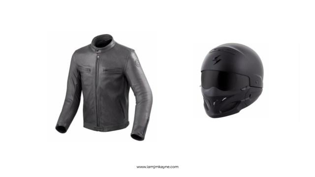 Motorcycle jacket and helmet at iamjmkayne.com.jpg