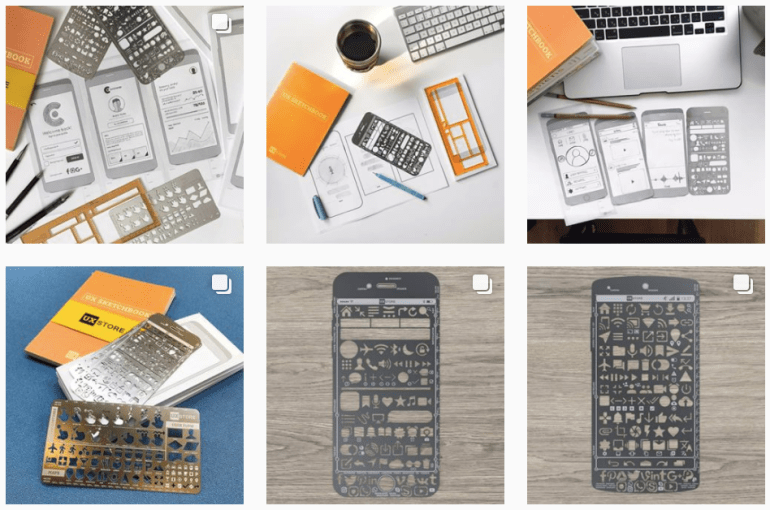 The UX Store's prototyping and sketching tools, like stencils and notepads