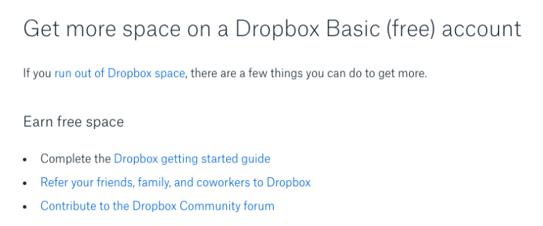 Example of gamification in Dropbox