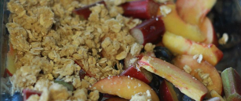 Peach, Rhubarb and Blueberry Crumble