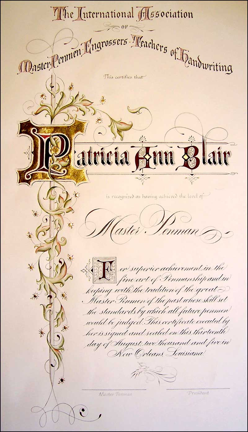 Master Penman Certificate IAMPETH Site