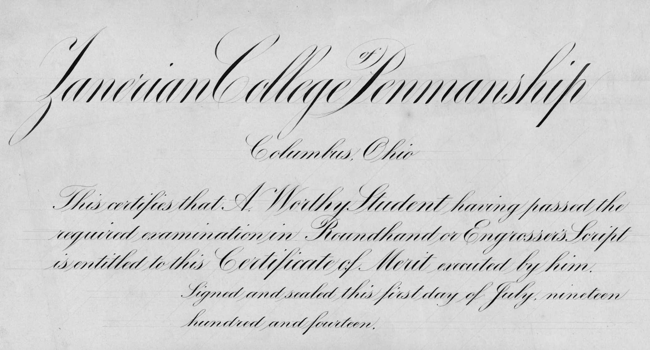 Sample Zanerian Certificate for Engrrosser's Script
