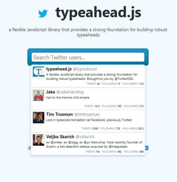Typeahead - 15 flashy jQuery plugins
