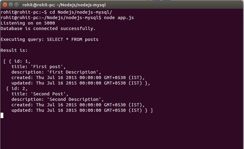 Nodejs with mysql connectivity example