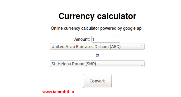 Create a currency converter in php using google finance