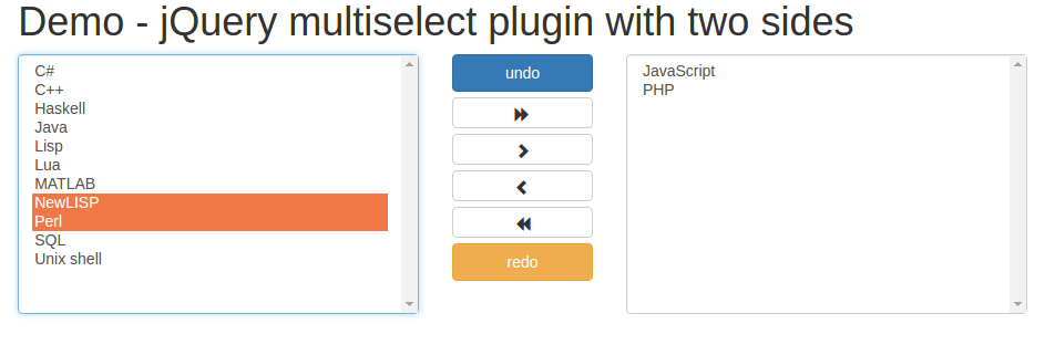 Integrate Two side Multi Select Plugin with jQuery