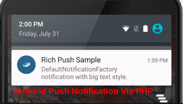 Send Android push notification Via PHP Script